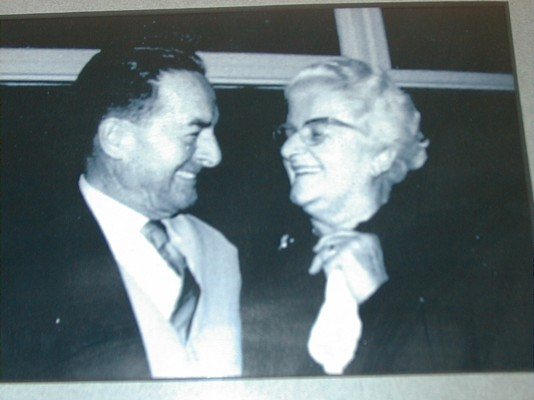 Eileen and Arthur Bassett, laughing together