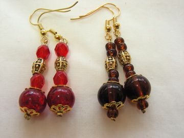 Handmade glass bead earrings