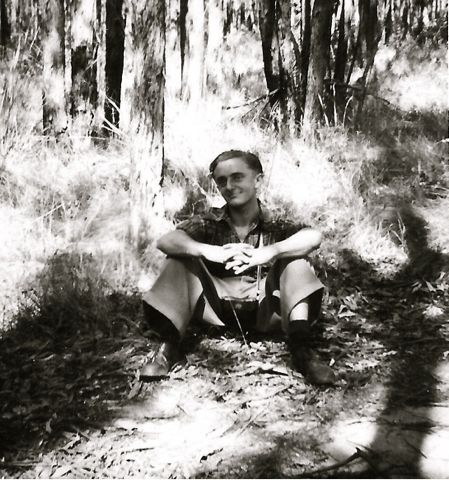Dad in the bush, 1950s