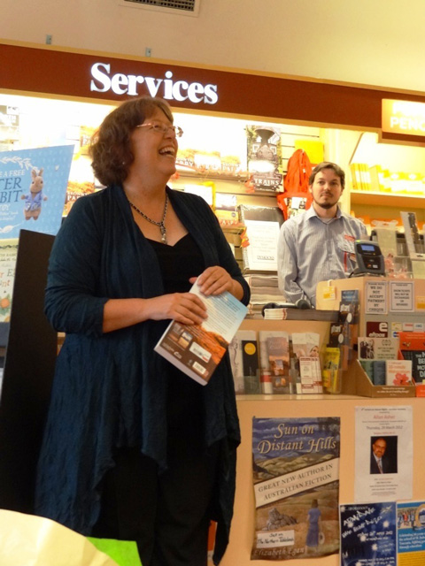 Bronwyn Parry speaking at launch of Dead Heat, Dymocks Armidale, 29th March 2012
