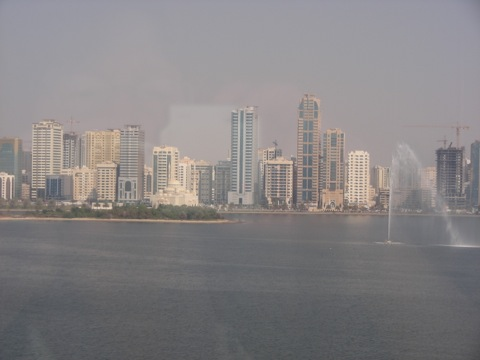 View from Hilton Hotel Sharjah across the Khalid Lagoon