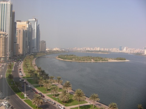 View from Hilton Hotel, Sharjah, across Khalid Lagoon